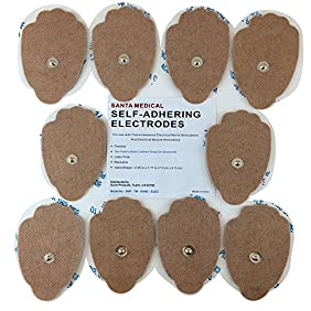 Santamedical 10 Snap-On Re-Usable Tan Carbon Electrode Pads with Premium Gel (Hand Shape ) - Satisfaction Guaranteed