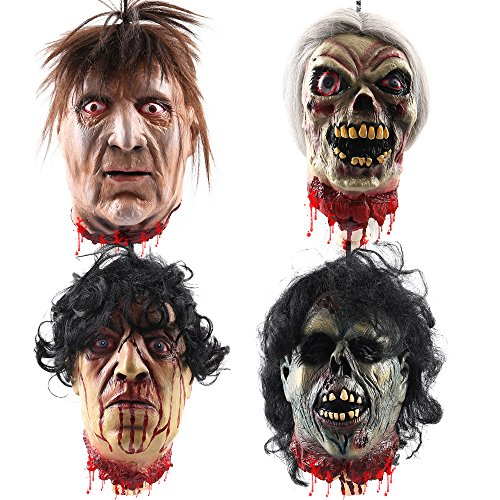 Wrightus 4 Pack Halloween Props Scary Hanging Severed Head Decorations,Life-Size Bloody Cut off Corpse Head Ghost Animated Zombie Head for Haunted Houses Party Decor Funny Festive Supplies