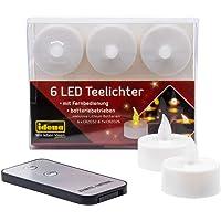 Idena - 6 velas LED con mando a distancia, velas eléctricas con luz parpadeante, incluye pilas, decoración para bodas…