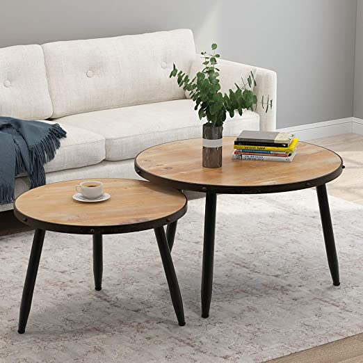 Amazon Com Tribesigns Industrial Nesting Coffee Table Set Of 2