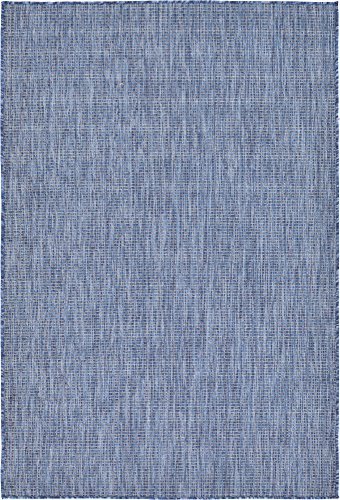 Unique Loom Outdoor Solid Collection Casual Transitional Indoor and Outdoor Flatweave Blue  Area Rug (4' 0 x 6' 0)