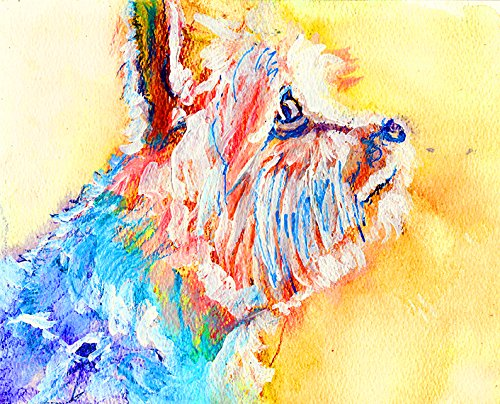 Yorkshire Terrier Art, Colorful Modern Yorkie Print, Sun Lit Yorkshire Terrier Print, Yorkie Owner Gift, Yorkshire Terrier Painting, Yorkie Mom Abstract Dog Decor Hand Signed by Oscar Jetson ()
