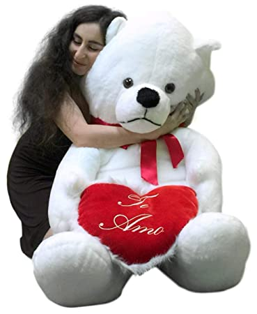 Big Plush Giant Teddy Bear 62 Inch Soft White Holds TE AMO Heart Pillow  Made In