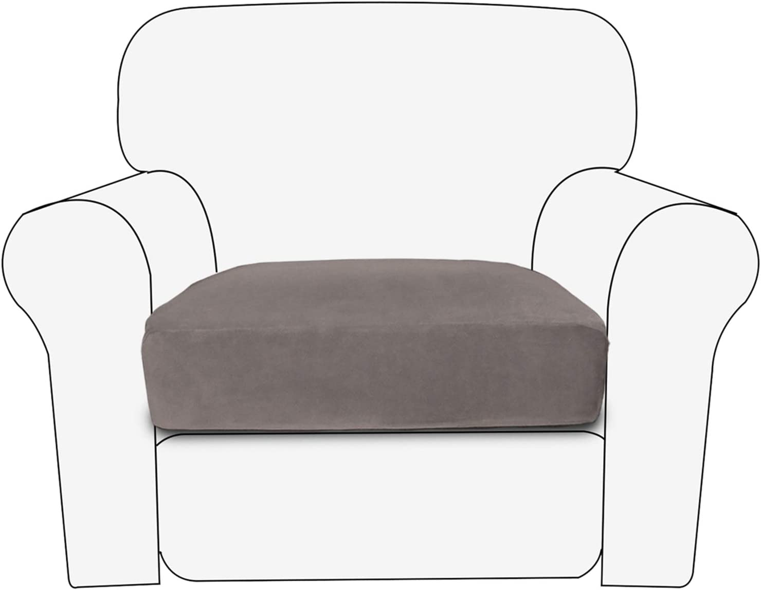 PureFit Stretch Velvet Non-Slip Sofa Couch Cushion Cover - Removable Sofa Seat Covers for Dogs, Washable Elastic Furniture Slipcovers Protector for Kids and Pets (Chair, Taupe)
