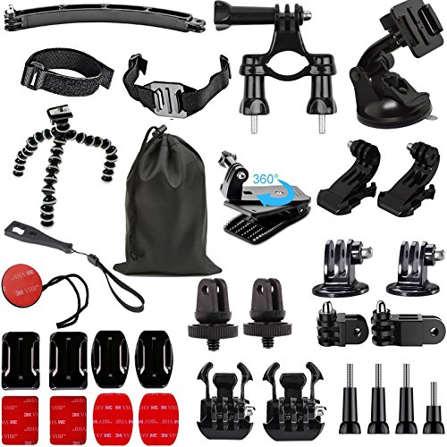 SUNMENCO 32-in-1 Action Camera Accessories kits Helmet 3M Adhesive VHB Stickers Flat Curved Base Mount Surface Base Adapter 3 Way Tripod Mount for GoPro Hero 6 5 4 / xiao mi yi / AKASO Sony Sports dvr by SUNMENCO