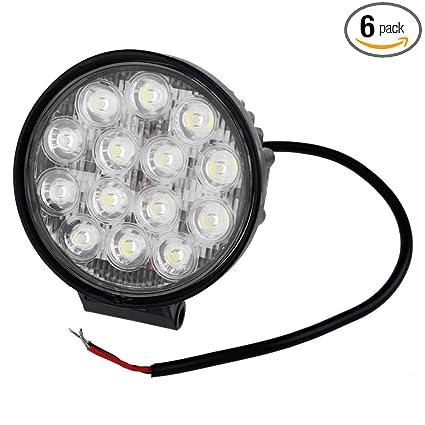 e7a42b930a2 Amazon.com: LED Light Bar,Universal Waterproof 14x3W 6,500K LED Spot Beam  Lamp Round Work Light: Automotive