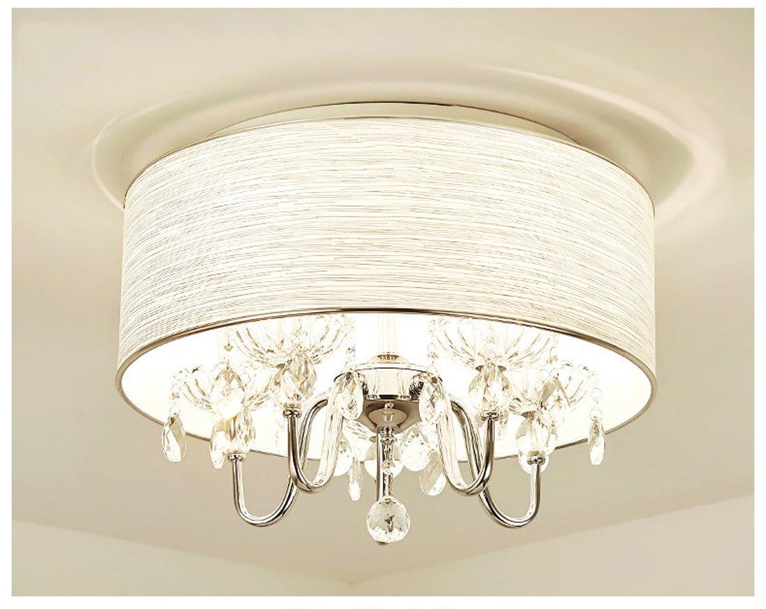 Modern Crystal Pendant Light in Cylinder Shade, Drum Style Home 4 Ceiling Light Fixture Flush Mount, Pendant Light Chandeliers Lighting for Bedroom, Living Room Rain Drop Decoration (5)