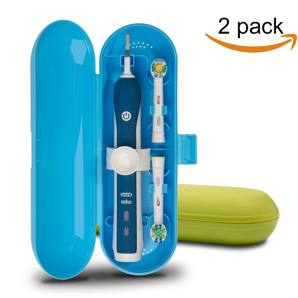 Plastic Electric Toothbrush Travel Case for Oral-B Pro Series, 2 packs (Blue&Green)
