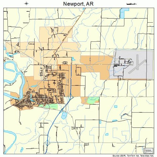 Amazon Com Large Street Road Map Of Newport Arkansas Ar