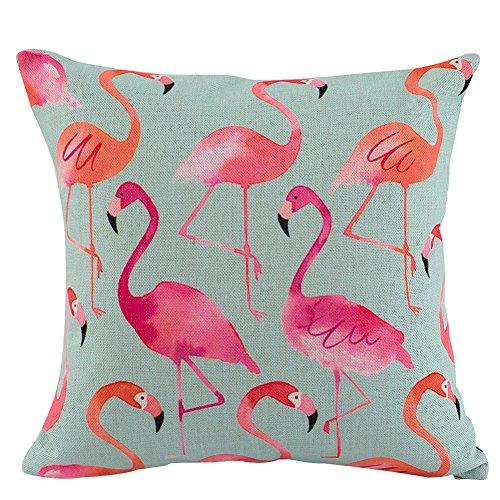 JES&MEDIS Pink Watercolor Flamingo Home Decor Sofa Car Seat Decorative Cushion Cover Pillow - Flamingos Color Pink