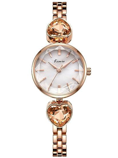 Alienwork Reloj Mujer Relojes Acero Inoxidable Oro Rosa Analógicos Cuarzo Blanco Impermeable Strass Elegante Purpurina