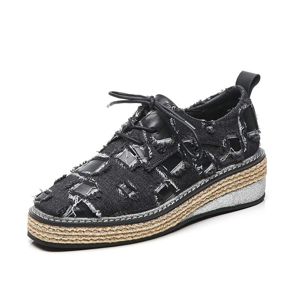 YAN Frauen Wedge Schuhe Spring Low-Top Fall Low-Top Spring Casual schuhe Denim Leder Lace-Up Woven Schuhe Low-Top Schuhe Damen Schuhe schwarz braun schwarz 39 eb7123