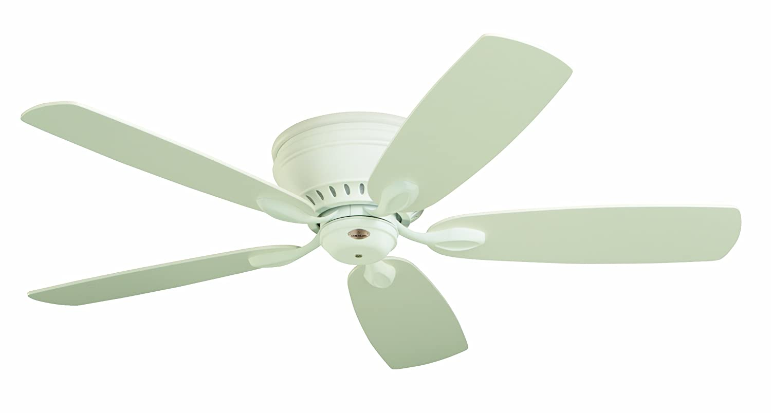 Emerson Ceiling Fans CF905SW Prima Snugger 52-Inch Low Profile Hugger Ceiling Fan With Wall Control, Light Kit Adaptable, Satin White Finish