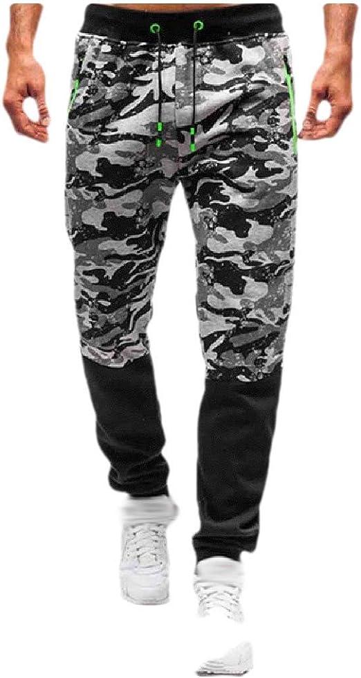 VITryst メンズ カモフラージュ ローウエスト ドローストリング ポケット リラックスフィット ジョガーパンツ