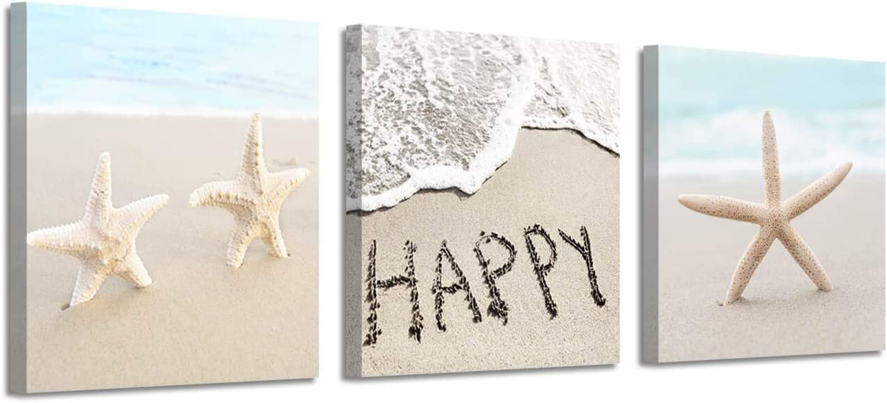 Seaside Scene Picture Canvas Print: Ocean Starfish on Beach Sand Artwork Painting for Wall Art for Bedroom (12''x12''x3panel)