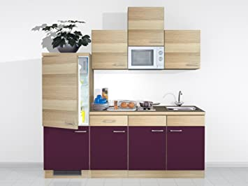 SINGLE KÜCHE ZAFIA 210 AKAZIE AUBERGINE DEKOR: Amazon.de: Küche ... | {Single küche 28}