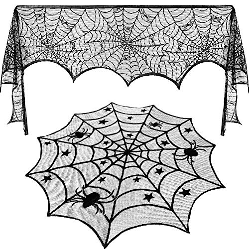 Jovitec Round Lace Table Topper Black Spider Tablecloth and Fireplace Spider Decorations Lace Spiderweb Mantle Scarf Cover for Halloween Window, Dinner Party, Festival Party, Scary Movie Nights