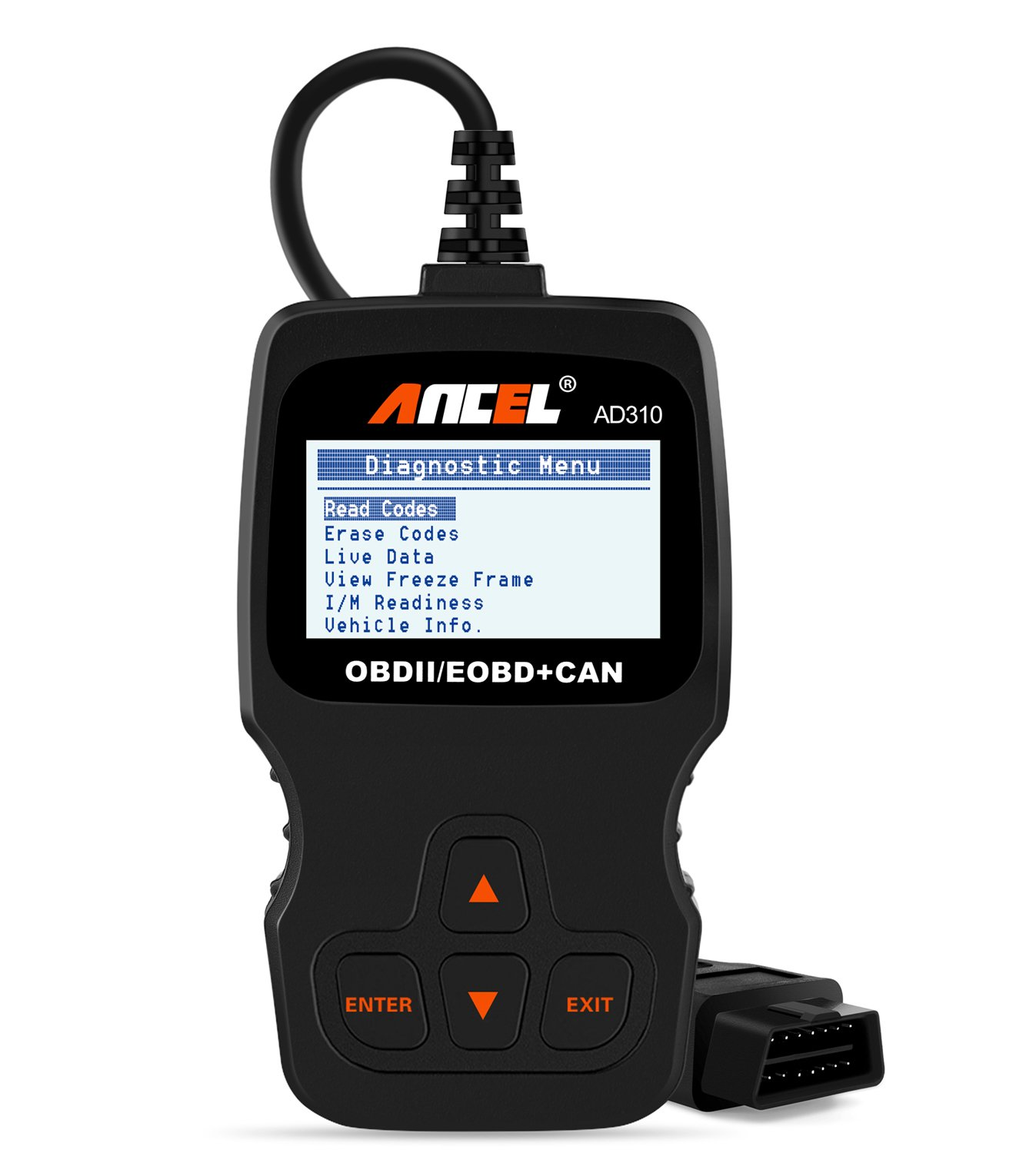 Ancel Ad310 Classic Enhanced Universal Obd Ii Scanner 99 Chevy Vss Wiring Harness Car Engine Fault Code Reader Can Diagnostic Scan Tool Black Automotive
