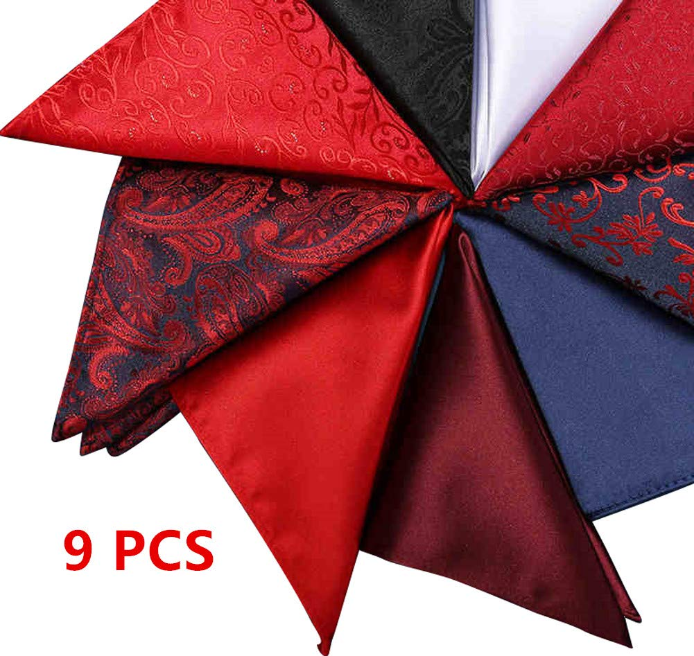 Weishang Mens Printing patterns Pocket Square Handkerchief Wedding Party(pack of 9) (A05)