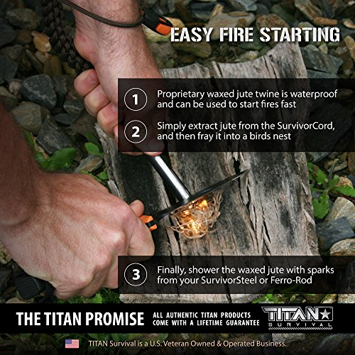 Titan SurvivorCord | Coyote Brown | 103 Feet | Patented Military Type III 550 Paracord/Parachute Cord (3/16'' Diameter) with Integrated Fishing Line, Fire-Starter, and Utility Wire. by Titan Paracord (Image #4)