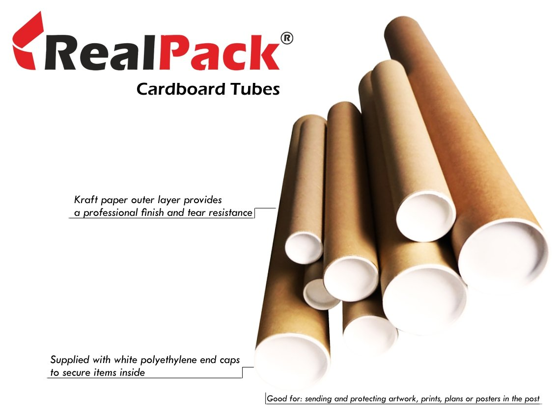 REALPACK® Postal Tube - Quality Strong Cardboard With Plastic End Caps - 2'' line-size: 890mm.Ideal for protect your goods.Free Fast UK Delivery REALPACK®