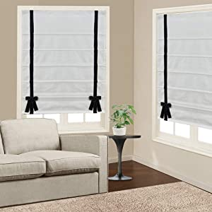 Roman Shades Window Blinds, White-Black Butterfly Premium Blackout Roman Window Shades, Custom Washable Fabric Roman Shades for Windows, Doors, French Doors, Kitchen Windows (1 Piece)