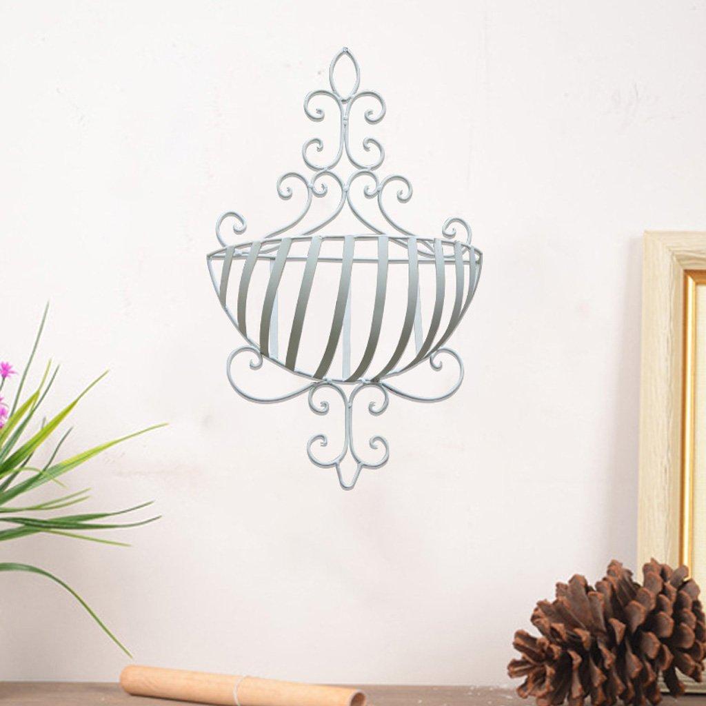 CJH Balkon-Schmiedeeisen-Wand-hängende Blumen-Wand-Wand-hängender Blumen-Korb, der Innen- und Blumen-Regal im Freien hängt