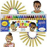 JOYIN 24 Colors Face Paint Crayon (3 INCH) Large Size Safe & Non-Toxic Face Body Crayons Ultimate Party Pack including 6 METALLIC Colors