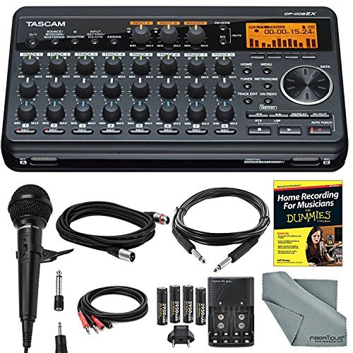 Tascam DP-008EX 8-Track Digital Pocketstudio and Deluxe Bundle with Home Recording for Musician's Guide + Handheld Mic + FibertTique cloth and More [並行輸入品] B076YYZBSH