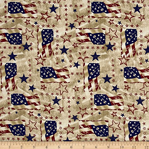 Santee Print Works Made in The USA II Flags Antique Cream Fabric by The Yard - Patriotic Quilt Fabric