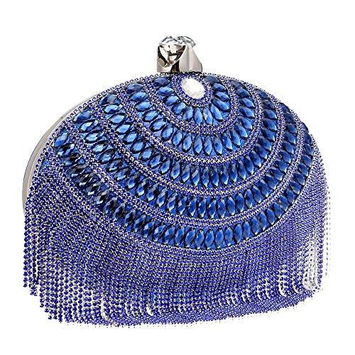 Evening Clutch Evening Fringe Blue Dress Women's Women's Bag Luxury GROSSARTIG Ax8Rvqq