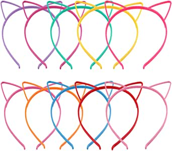 Candygirl Cat Ear Headbands Plastic Cat Hairbands Makeup Party Festival Headwear for Girls and Women(10 Pieces mix colors Cat Ear Hair bands)