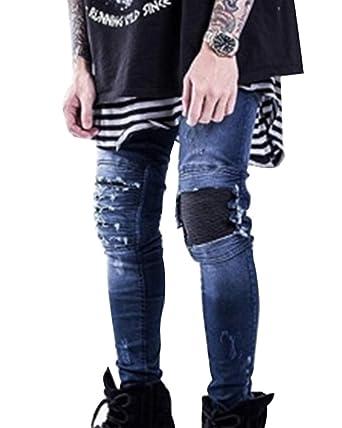 64dd3d049380a ZiXing Pantalon Homme Stretch Jeans Skinny Destroy Déchiré Denim Pantalon  Bleu 36