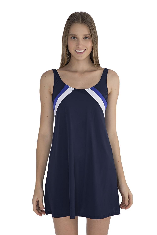 SUNSET® Badeanzug Badekleid Tankini Navy Dunkleblau Sportstreifen Sommerkleid