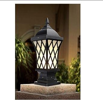 Lámpara de aluminio para jardín, cerca, a prueba de agua, de jardín, de la vendimia (color: negro): Amazon.es: Iluminación