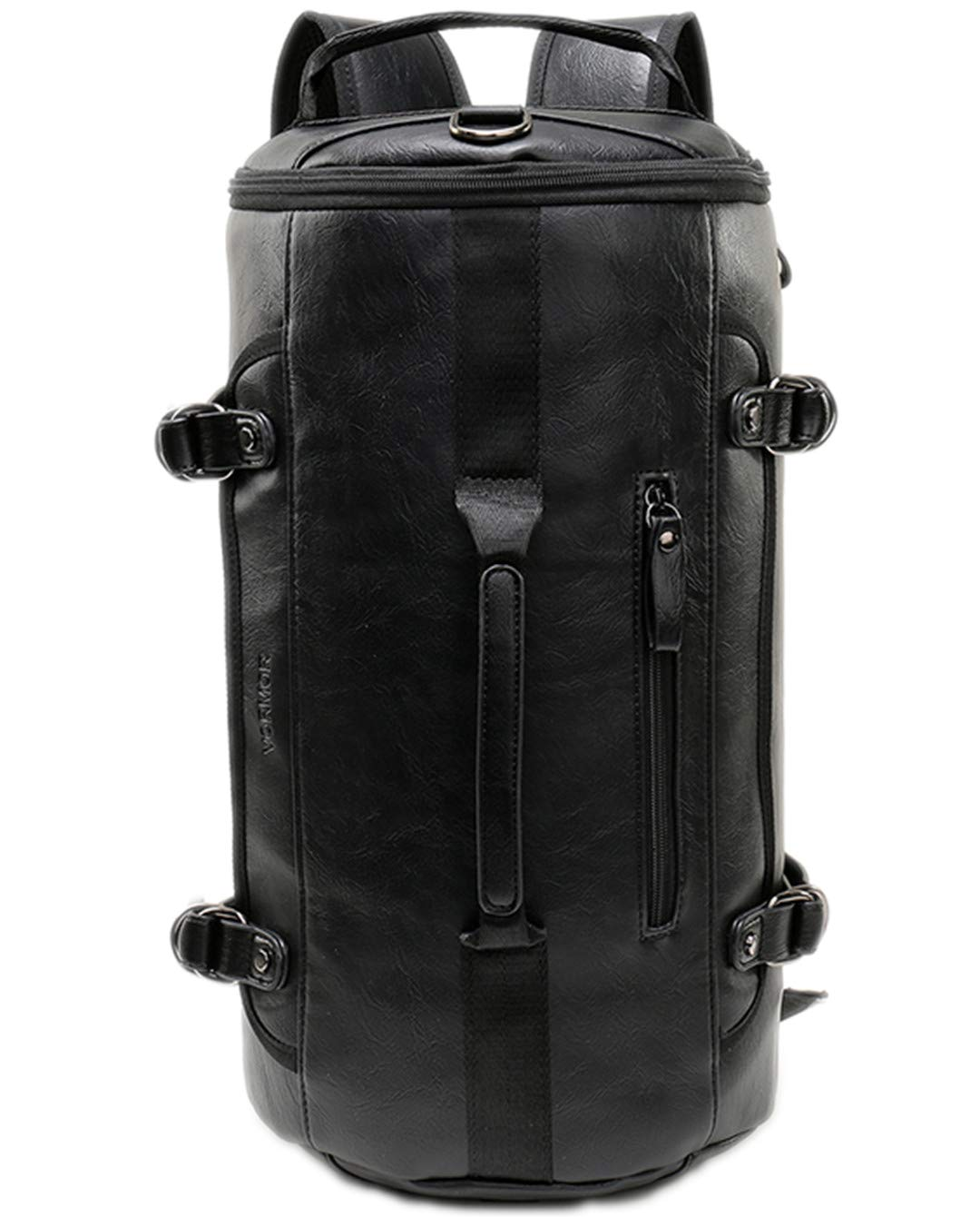 Personality Large Size Round Leather Mens Travel Bag Rolling Travel Backpack Black