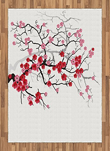Nature Area Rug by Ambesonne, Japanese Plant Sakura Flower with Abstract Backdrop Art, Flat Woven Accent Rug for Living Room Bedroom Dining Room, 5.2 x 7.5 FT, Dark Brown Dark Coral and Pale Pink by Ambesonne