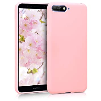 kwmobile Funda para Huawei Y6 (2018) - Carcasa para móvil en TPU silicona - Protector trasero en rosa oro mate