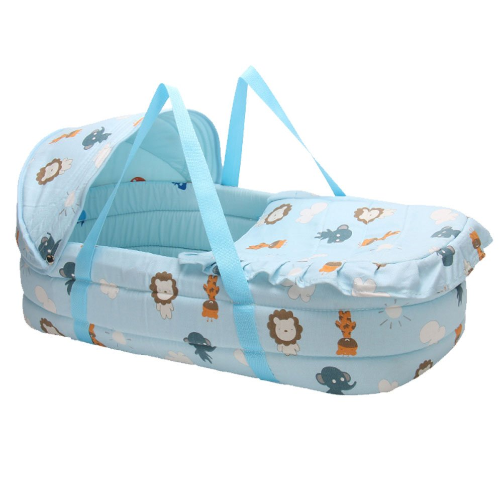 Lzttyee Portable Infant Basket Cartoon Pattern Baby Carrycot Baby Travel Bed with Double Handle for 0-7 Months Babies (Animal)