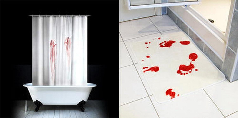 EnlloR Bloody Bath Shower Curtain Blood Bath Mat Blood Bath Suit