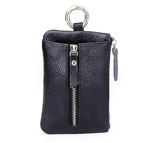 Aladin Womens Leather Key Case  Zipper Coin Purse  Card Holder Wallet Black eca1ba06aed69
