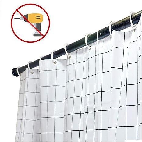 Black Tropik home Extendable Spring Loaded Shower Curtain Pole//Rod//Rail 190-300cm