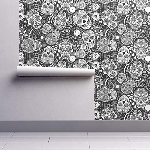 Peel-and-Stick Removable Wallpaper - Sugar Skull Mexican Calavares Skull Coloring Halloween by Lusykoror - 12in x 24in Woven Textured Peel-and-Stick Removable Wallpaper Test Swatch -