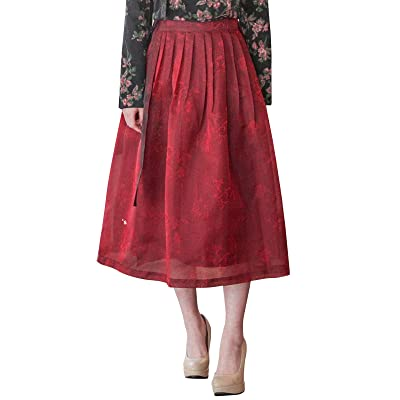TETEROT SALON Women's Wrap Skirt Hanbok Korean Vintage Party Long Skirt, Wine at Women's Clothing store