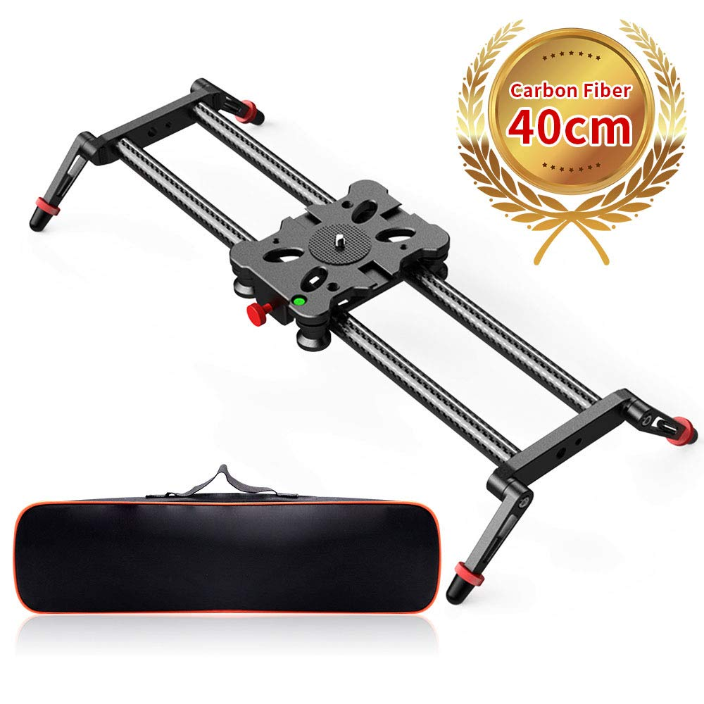 Camera Slider, FOSITAN 15.7 inch Carbon Fiber Dolly Rail Track Slider Video Stabilizer for Camera DSLR Video Movie Photography Camcorder 17.6lbs Loading by FOSITAN