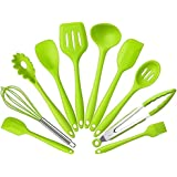 Silicone Kitchen Utensils Set, 10 Pieces Silicone Cooking & Baking Tool Sets Non-toxic Hygienic Safety Heat Resistant (Green)