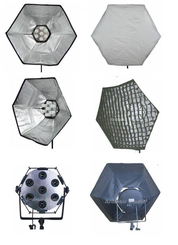Ardinbir Studio Photography 1400 W蛍光灯連続ライトランプ38 インチ/95 cmソフトボックスキットwithホワイトDiffuser &エッグクレートグリッド