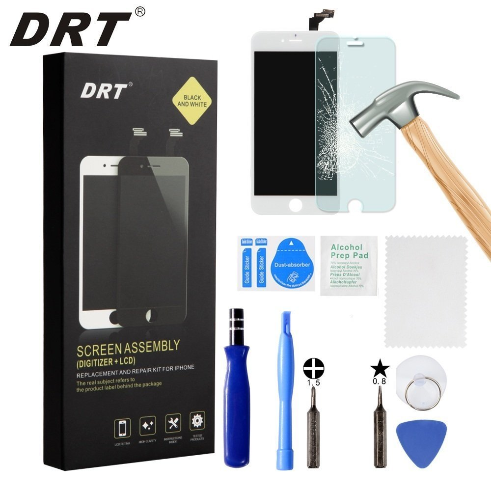 DRT iPhone 6S Screen Replacement 4.7', LCD Touch Screen Digitizer Assembly Set + Premium Glass Screen Protector+Free Repair Tool Kits (6S Black)