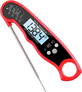 (Upgraded) Instant Read Meat Thermometer, Best Waterproof Ultra Fast Cooking Thermometer Food Thermometer with Probe for Kitchen, Cooking, BBQ, Poultry, Grill Food, Fast & Auto On-Off, Battery Include