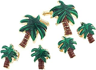 product image for JJ Weston Palm Tree Tuxedo Cufflinks and Shirt Studs. Made in the USA
